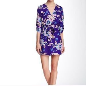 Yumi Kim Purple Floral Print Cross Front Dress M